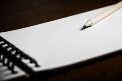 Wood pencil with blank white paper Stock Photos