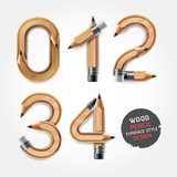Wood pencil numbers alphabet style. Vector illustration Royalty Free Stock Photos