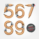 Wood pencil numbers alphabet style. Stock Image