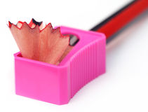 Wood pencil with sharpener Stock Photos