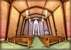 Wood Pews in Church Fisheye Photo Stock Images