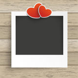 Wood Photo Frame 2 Hearts. Photo frame with 2 hearts on the wooden background Royalty Free Stock Photos