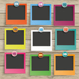 Wood 9 Photo Frames Camera Icons. 9 photo frames with camera icons on the wooden background stock illustration