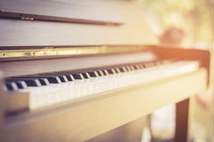 Wood piano close up keyboard selective focus and vintage tone. Royalty Free Stock Image