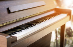 Wood piano close up keyboard selective focus and vintage tone. Royalty Free Stock Photography