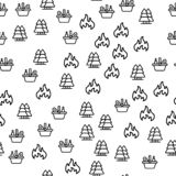 Wood Picnic With Basket Products Seamless Pattern royalty free illustration