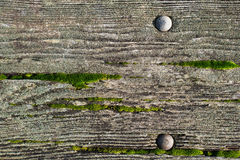Wood picnic table background with green moss on it Stock Photography