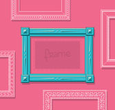 Wood picture frame flat vector. Stylish blue photo frame on pink wall. Painting frame set. Template. Stylish blue photo frame on pink wall Royalty Free Stock Images