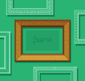 Wood picture frame flat vector. Stylish gold photo frame on green wall. Painting frame set. Template. Stock Images
