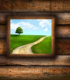 Wood picture frame on on pine wood Stock Photography