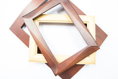 Wood picture frame. Small brown wood picture frame on white background Stock Photo