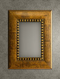 Wood picture frame on the wall Stock Photo