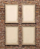 Wood picture frames on red brick wall. 3d rendering wood picture frames on red brick wall Royalty Free Stock Image