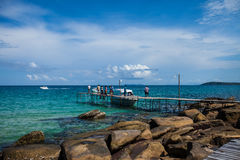 Wood Pier at Beautiful Tropical beach in Koh Kood Island,Thailan royalty free stock photo