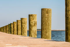 Wood pier columns detail Royalty Free Stock Image