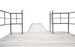 Wood pier with iron railing Stock Image