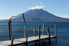 Wood pier on lake atitlan guatemala Royalty Free Stock Photo