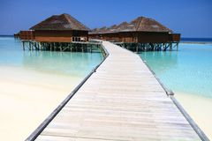 Wood Pier Leading to Overwater Bungalows on Pacific Ocean in the. Maldives royalty free stock images