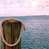 Wood pier post, Islamorada Royalty Free Stock Images