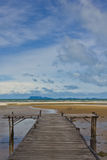 Wood pier on sea Royalty Free Stock Photo