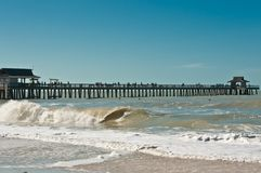 Wood pier stretching into gulf of mexico and tropical beach, on a clear, windy day. Front view, long distance of a historical, wood pier stretching into the gulf royalty free stock images