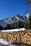 Wood pile. In the mountains Stock Photo