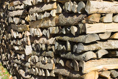 Wood pile. Pile of chpped wood lit by morning sun Royalty Free Stock Image