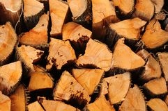 Wood Pile. Pile of quarter chopped fire wood stacked neatly Royalty Free Stock Image