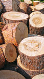 Wood pile background Stock Photos