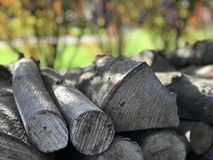 Wood on pile blurred background. Scene focused on wood in the foreground, sunny day Stock Image