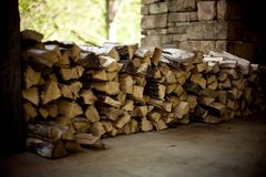 Wood Pile Fire Place Outdoors Brown Stock Images