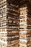 Wood pile fully organised Stock Photo