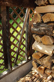 Wood Pile in a Garden Shed Stock Photo