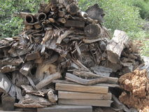 Wood Pile. On my land for burning wood in the stove here in Arizona during the winter Royalty Free Stock Image