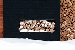 Wood pile outside Stock Images