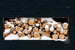 Wood pile outside Royalty Free Stock Photos