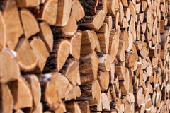 Wood pile outside Royalty Free Stock Photography