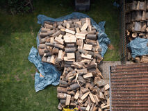 Wood pile in plan view. Already collected the wood for the winter Royalty Free Stock Images