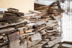 Wood pile prepared for winter cold stock photo
