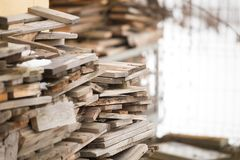 Wood pile prepared for winter cold royalty free stock photos