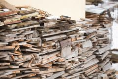 Wood pile prepared for winter cold royalty free stock photography
