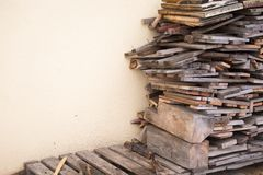 Wood pile prepared for winter cold stock image