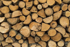 Wood pile stacked and ready for winter Stock Photos