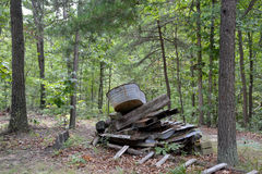Wood pile with tub. A galvanized metal tub rests on top of a pile of wood in a forest stock photo