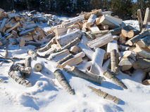 Wood Pile under snow Stock Photography