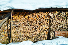Wood pile storage in winter. A stack of well-seasoned firewood sheltered under a roof which is richly snow-covered. Rural living Stock Photography
