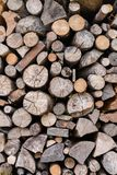 Wood piled up in the plant. Stacks of wood piled up in wood factory royalty free stock photography