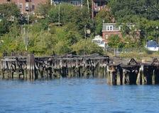 Wood pilings Boston harbor Stock Image