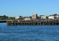 Wood pilings Boston harbor Royalty Free Stock Images