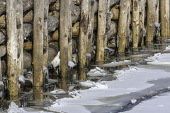 Wood pilings and ice Royalty Free Stock Photos